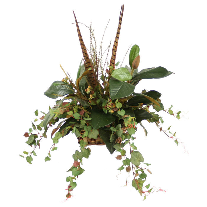 Fall Topper of Mixed Silk Foliages including Magnolia, Ivy, Berries and Feathers in Rectangle Wicker Basket