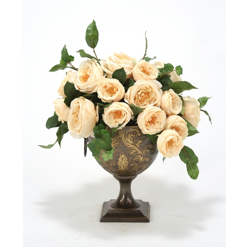 Champagne Silk Roses in Bronze Embossed Metal Urn