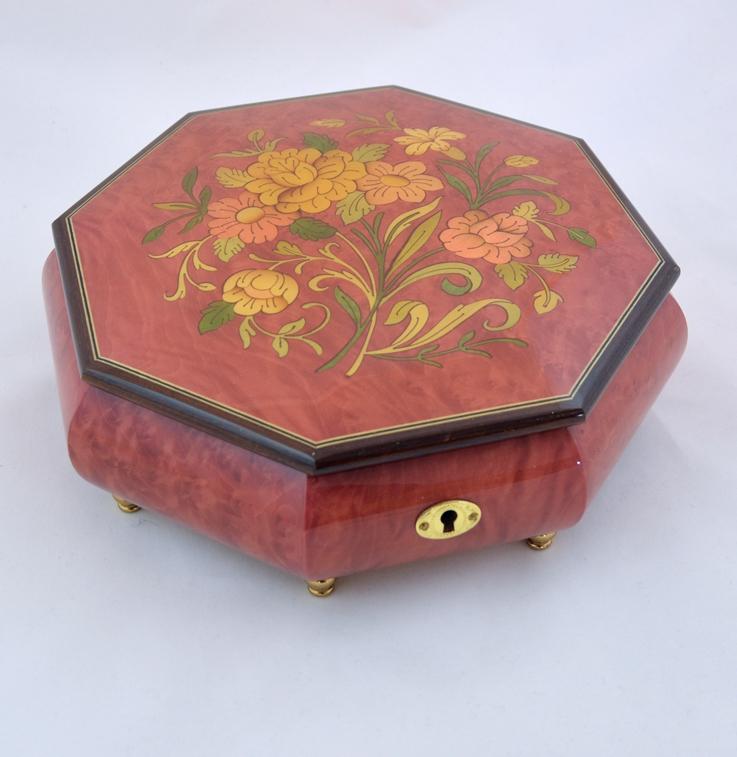 OCTAGONAL WINE RED LARGE JEWELRY BOX