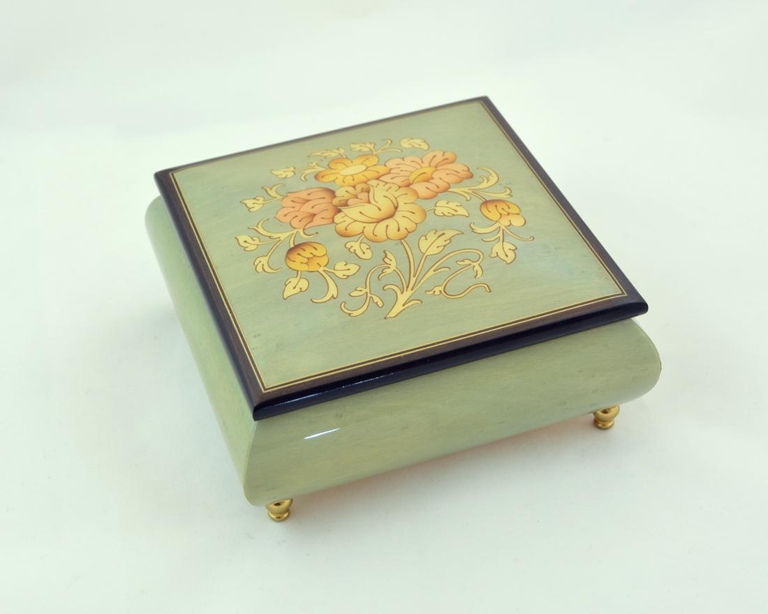 TURQUOISE FLOWERS INLAID MUSIC BOX