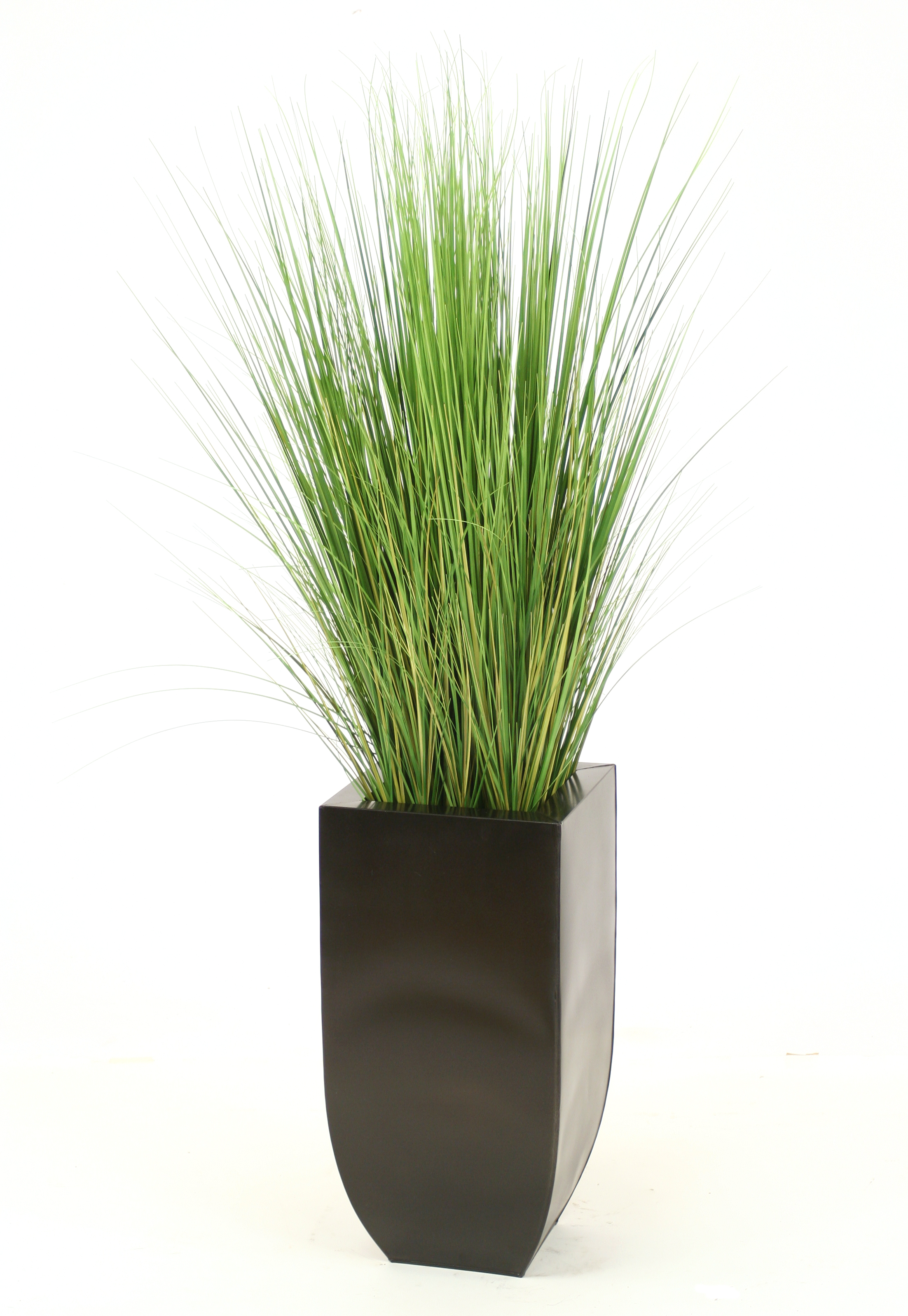 Silk multi green grass in tall graphite metal planter for Ornamental grasses for planters