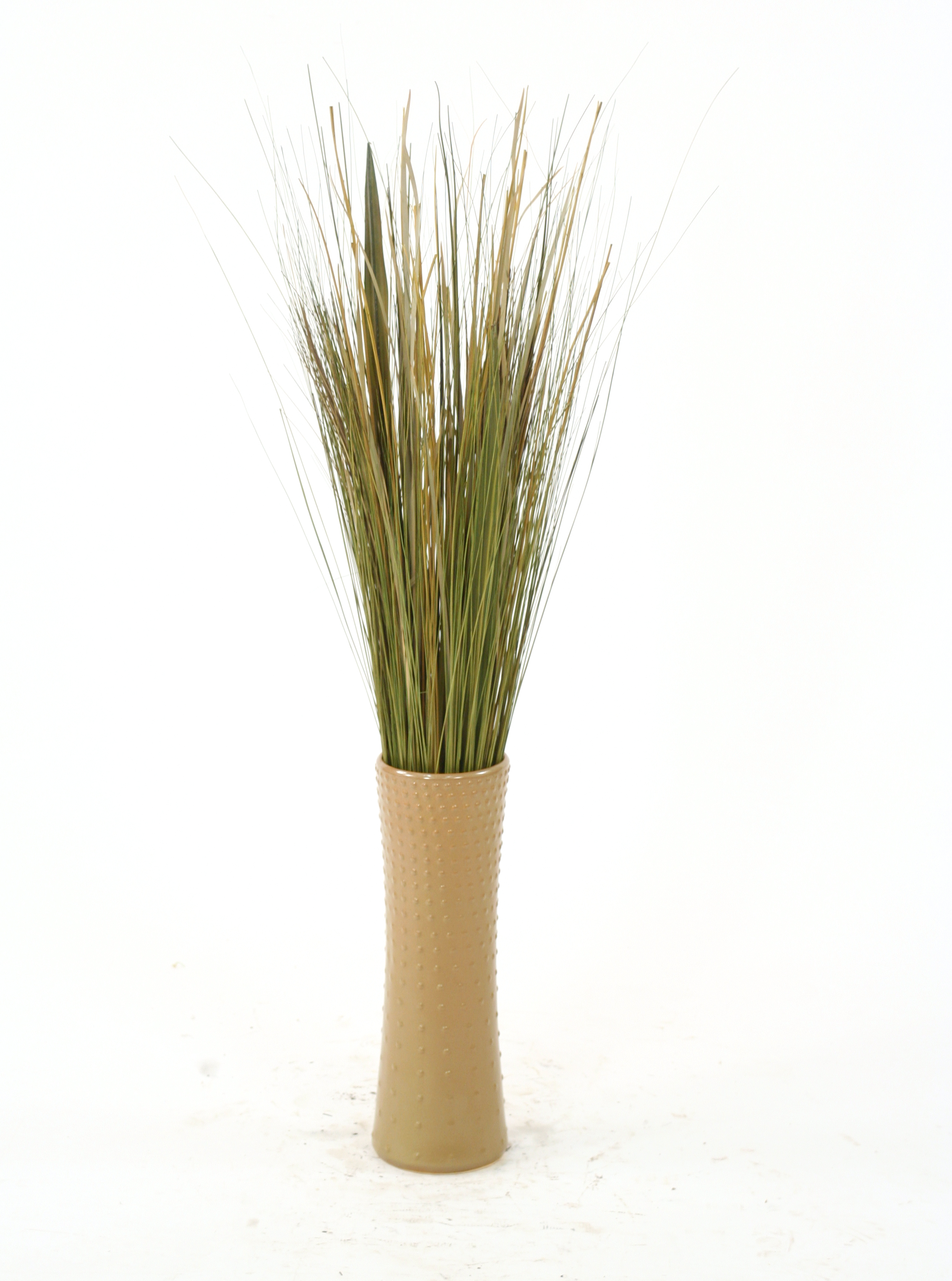 Mixed Natural And Silk Grass In Brown Latte Stoneware Cylinder Vase Free Shipping In Usa