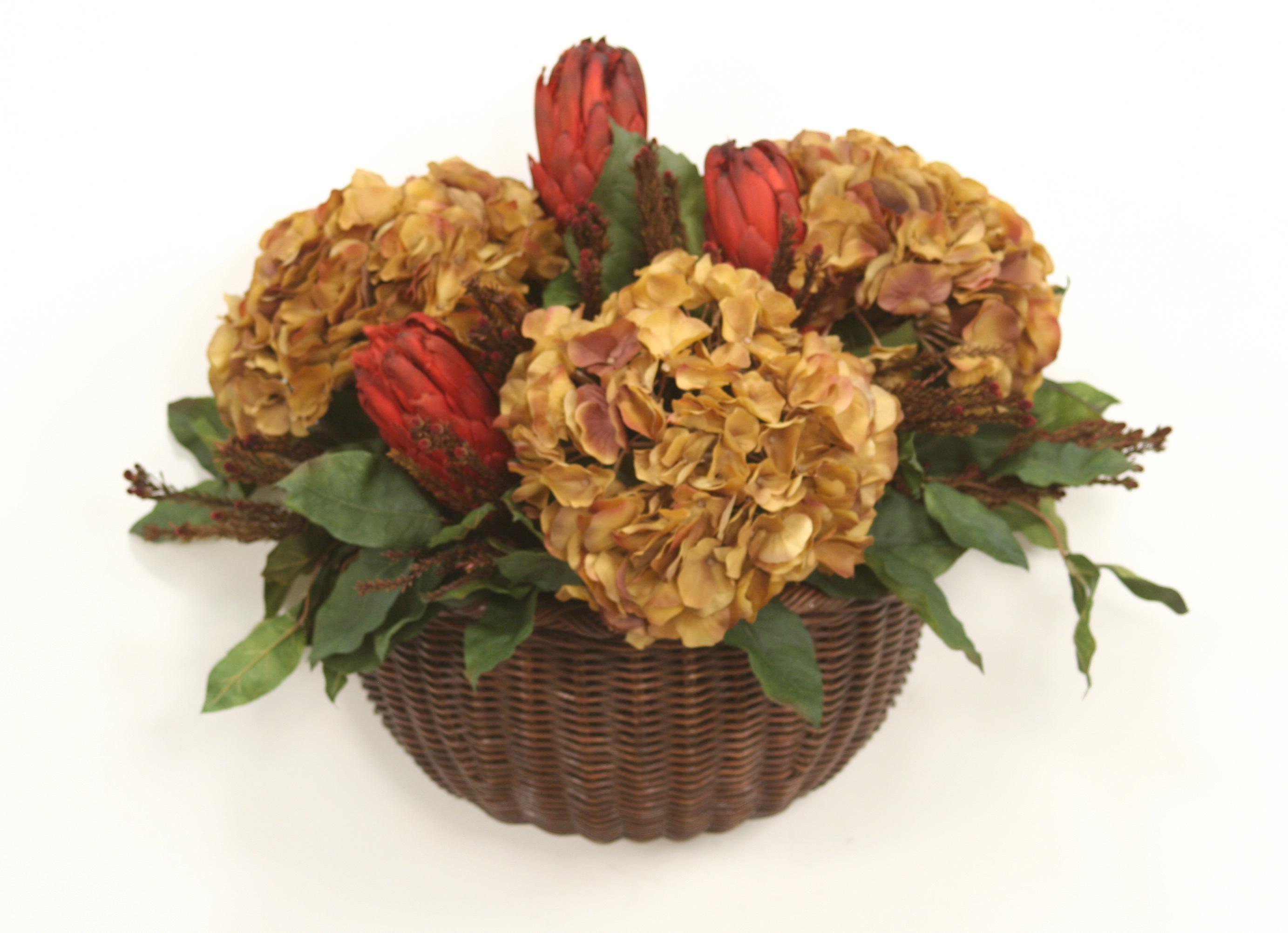 Flower Baskets Usa : Silk burgundy brown hydrangeas and foliage mix in wicker
