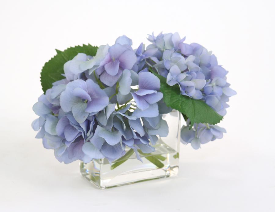 Waterlook silk blue hydrangeas in a small rectangular glass vase mightylinksfo Gallery