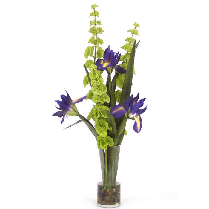 Waterlook silk blue japanese iris with bells of ireland in a glass waterlook silk blue japanese iris with bells of ireland in a glass cylinder mightylinksfo