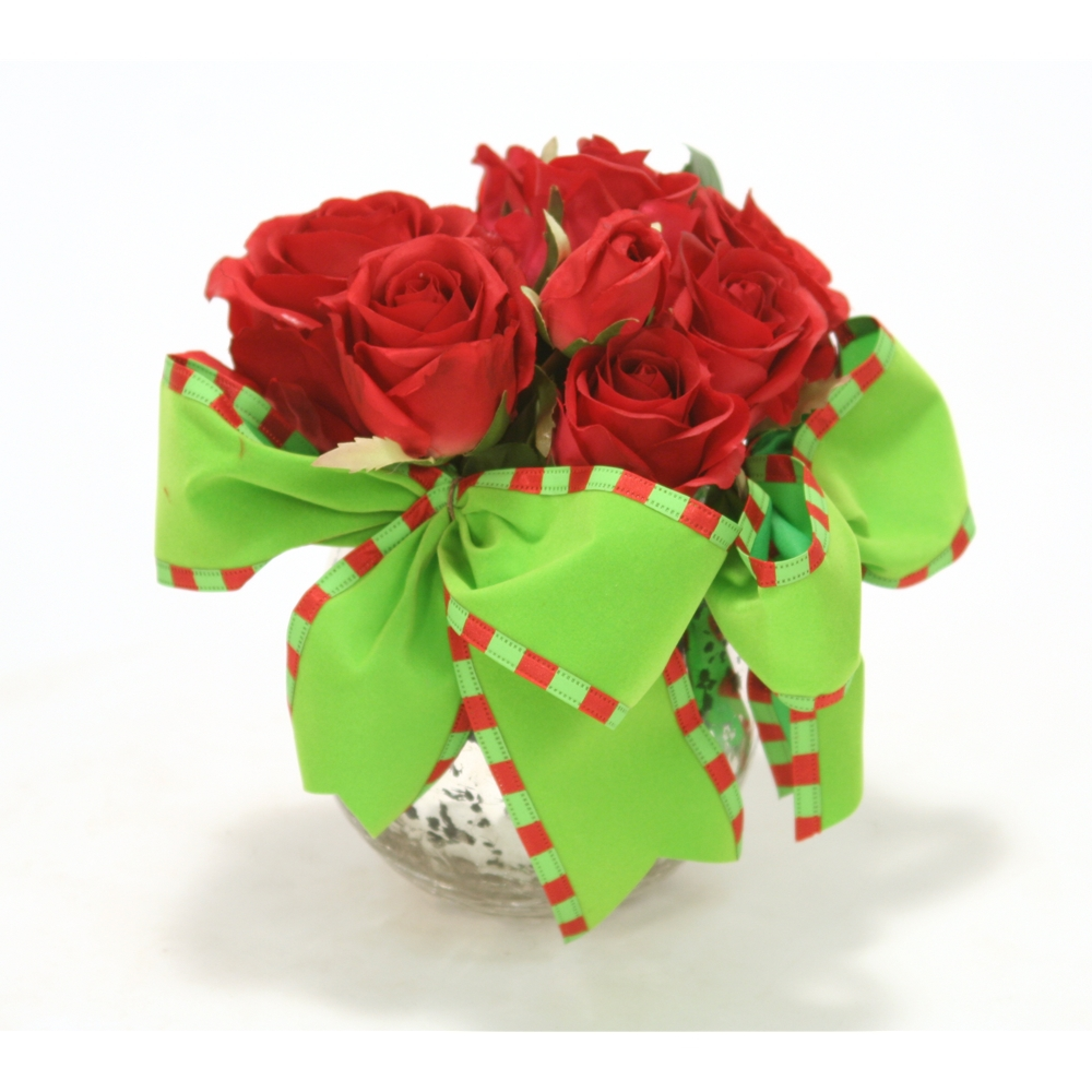 Christmas Red Rose Arrangement With Red And Lime Green