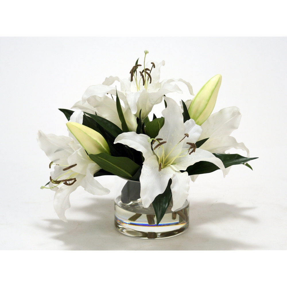 Cream white casablanca lilies in clear low round glass cylinder reviewsmspy