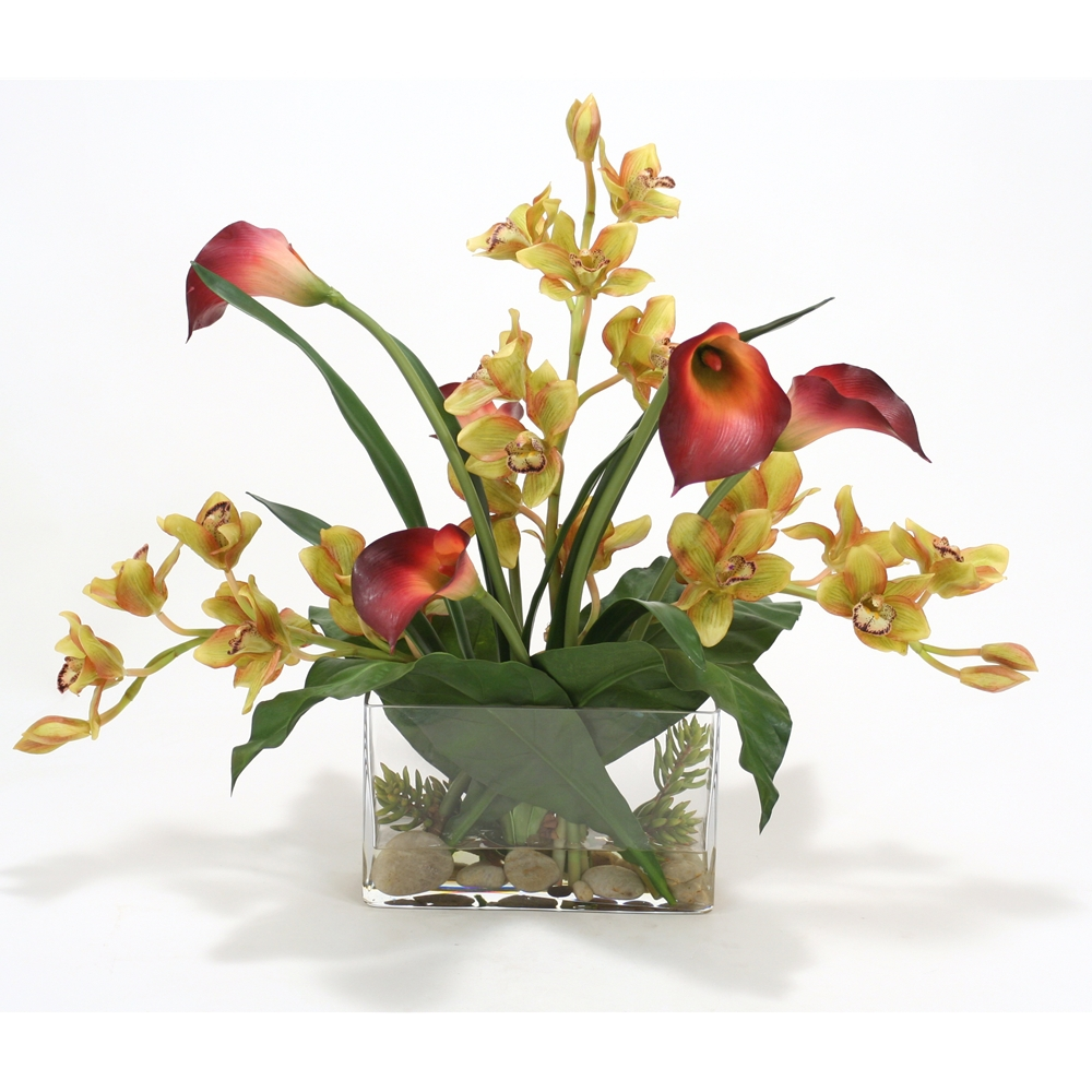 Green Burgundy Orchids And Burgundy Callas In Rectangular