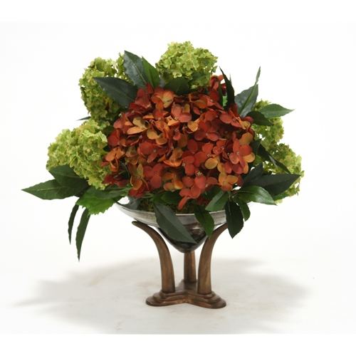 Mixed Rust Gold And Dark Cream Floral Arrangement In Clear