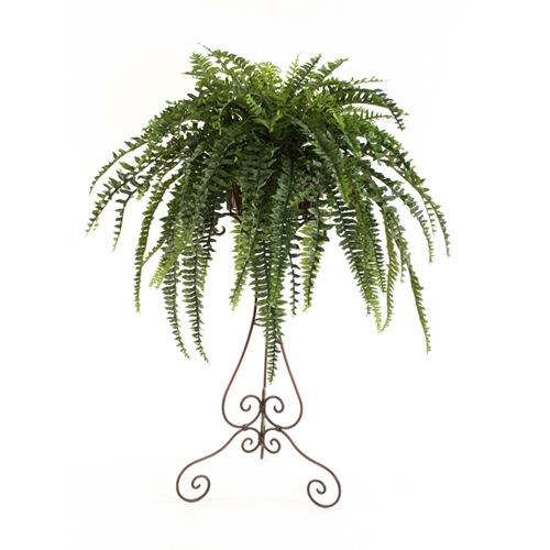 Silk boston fern in metal liner atop 40 victorian plant stand mightylinksfo Choice Image