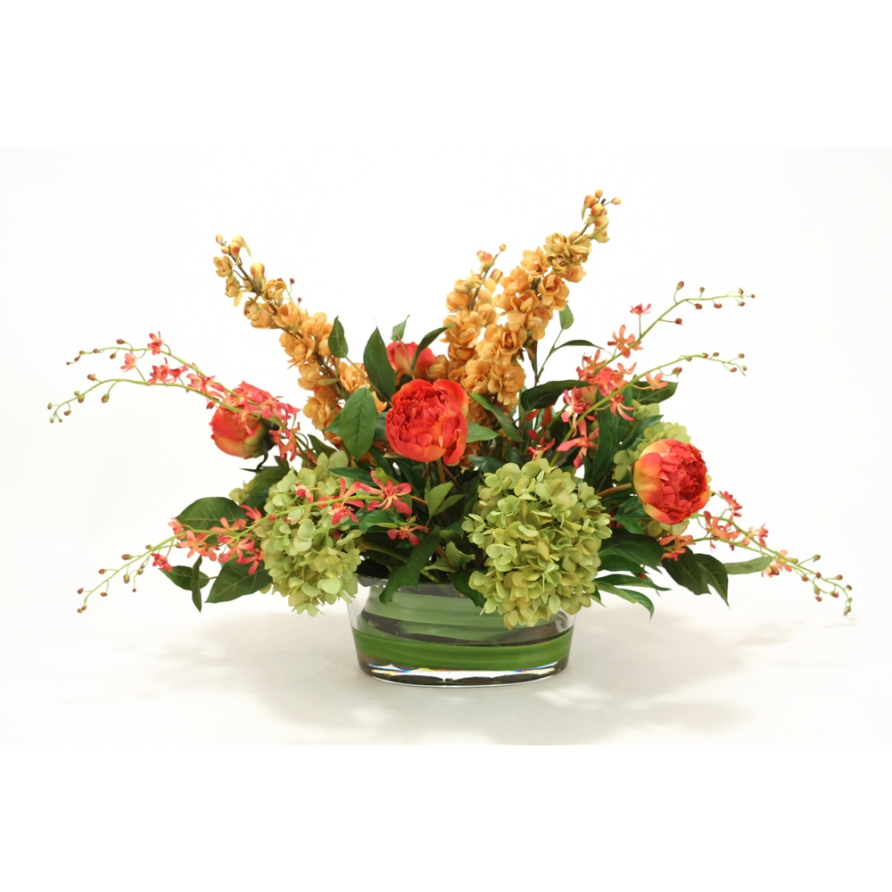 Traditional Mix Of Gold Green And Coral In Oval Glass