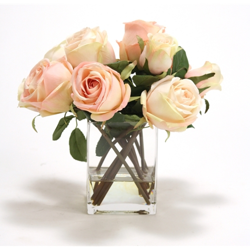 Waterlook silk cream roses and rose buds in a tall glass square mightylinksfo