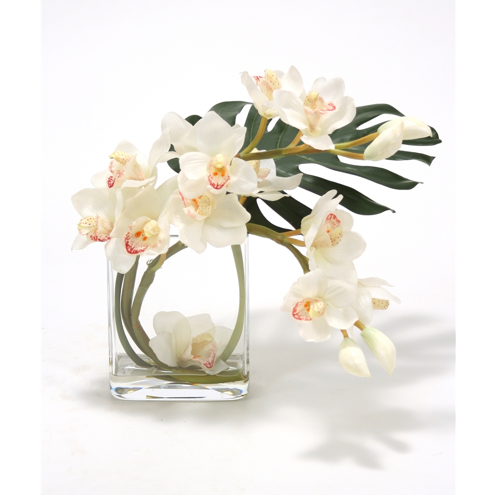 Waterlook white orchid silk arrangement with split philodendron waterlook white orchid silk arrangement with split philodendron leaf in curved rectangular clear g reviewsmspy