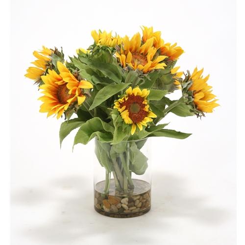Waterlook yellow sunflower silk floral arrangement in