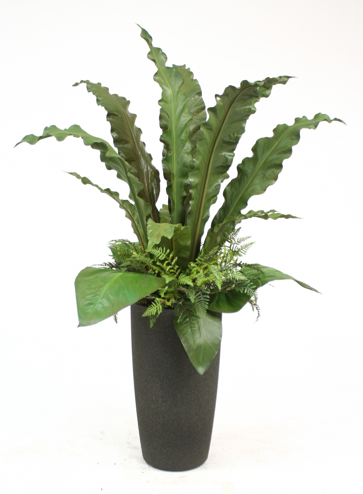Silk Tropical Leaves With Grass And Palms Floor Plant In