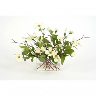 Waterlook ® Silk Dogwood Branches in a Rectangular Glass Vase