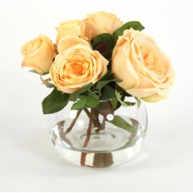 Waterlook ® Silk Champagne Yellow Roses and Buds in a Glass Rose Bowl