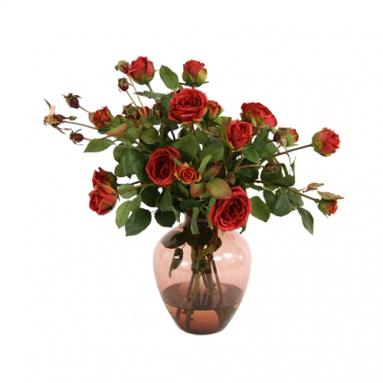 Waterlook ® Silk Burgundy Garden Roses in a Plum Victoria Vase