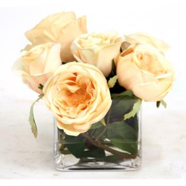 Waterlook ® Silk Champagne Roses in a Small Glass Rectangle
