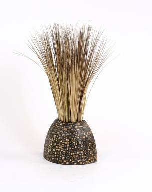 Silk Tan Brown Bear Grass in Woven Bamboo Textured Vase