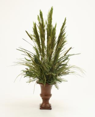 Silk Grasses, Fern and Eucalyptus with Preserved Plume Reed in Brown Classic Urn
