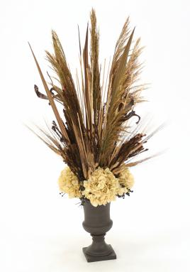 Fall-Toned Silk Arrangement with Cream Hydrangeas, Blades and Natural Product in Small Midnight Cherry Urn