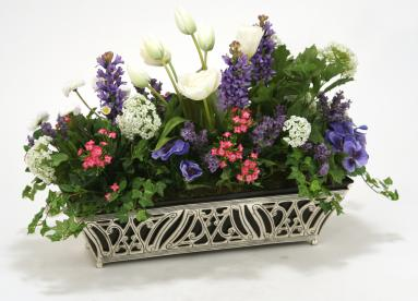 Silk Mixed Garden Planting in Cutwork Silver Rectangular Planter