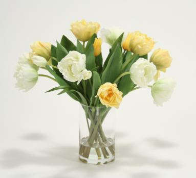 Waterlook ® Mixed Yellow and Cream Green Tulips in Tall Glass Cylinder Vase