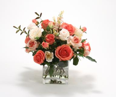 Waterlook ® Silk Coral and Ivory Rose Mixture in Clear Square Glass Vase