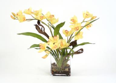 Waterlook ® Silk Yellow Orchid Plant with Blades and Natrag in a Rectangular Clear Vase