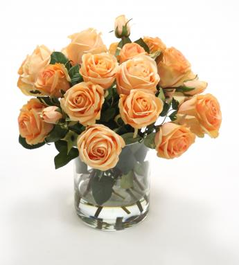 Waterlook ® Silk Peach Roses in a Clear Glass Cylinder