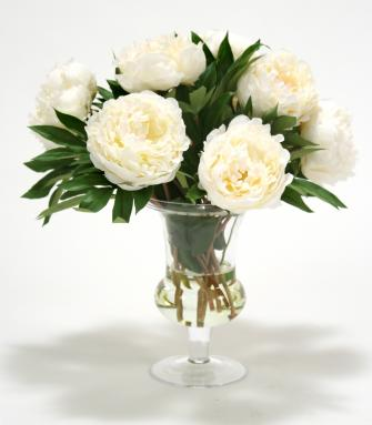 Waterlook ® White Peonies with Bay Leaf in Glass Urn