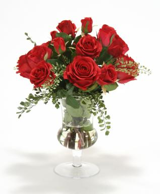 Waterlook ® Red Roses and Fern in Clear Glass Urn
