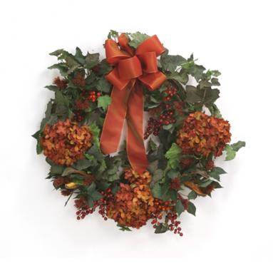 Wreath - 26' Fall Wreath with Rust Hydrangeas and Red Berries