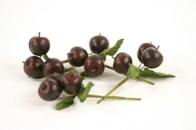 Fruit (Pack of 12) Juicy Plum Picks, Each with 3 Plums and Leaves