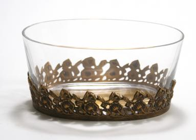Container - Antique Gold Finish Cutwork Dish with an Oval Glass Bowl