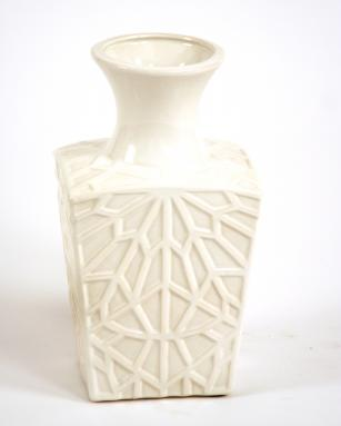 White Glazed Embossed Square Kira Vase