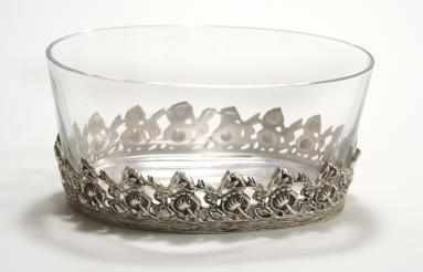 Antique Silver Finish Cutwork Dish with a Glass Bowl