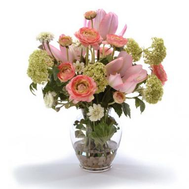 Waterlook ® Silk Peach Tulips, Antique Pink Roses and Snowballs in a Ginger Jar