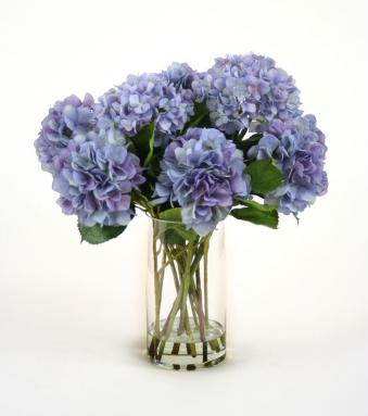 Waterlook ® Silk Blue Hydrangeas in a Glass Cylinder