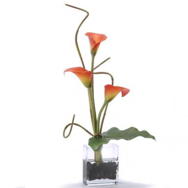 Waterlook ® Silk Rust Calla Lilies with a Tropical Leaf in Rectangular Glass