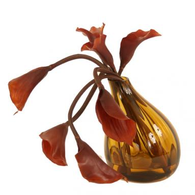 Waterlook ® Silk Brown Calla Lilies in an Amber Glass Gourd Vase