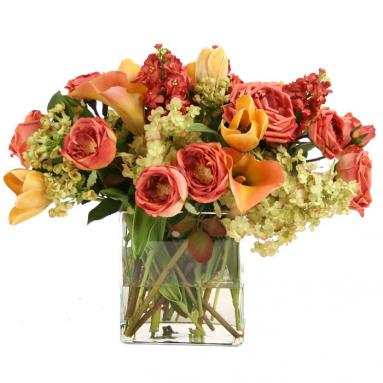 Waterlook ® Summer Mix of Silk Roses, Tulips, Calla Lilies and Hydrangeas in Glass
