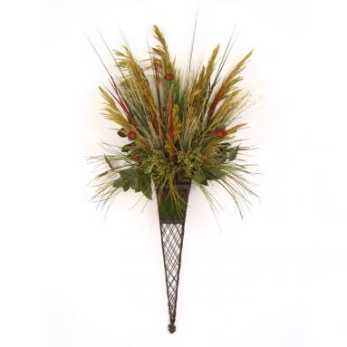 Dried Greenery - Grasses, Reeds and Echinacea in a Bronze Tapered Lattice Wall Sconce