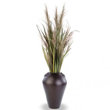 Dried Greenery - Natural Pampas Grass with Blades in a Bronze Finish Water Jar