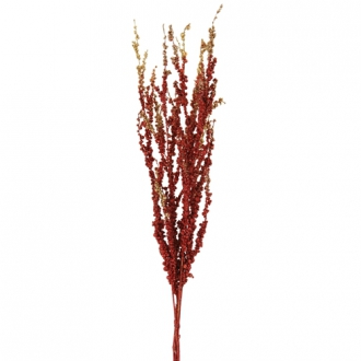 26'L Artificial Burgundy and Gold Glittered Berry Bamboo