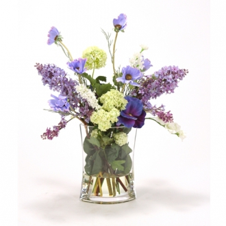 Waterlook ® Cream, Blue and Lavender Mix of Silk Garden Flowers in a Glass Vase
