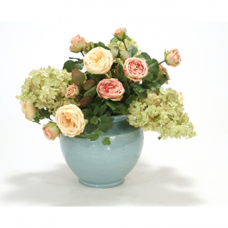 Antique Pink and Light Yellow Roses, Rose Green Hydrangea and Hedera Ivy in a Pool Blue Crackle Vase