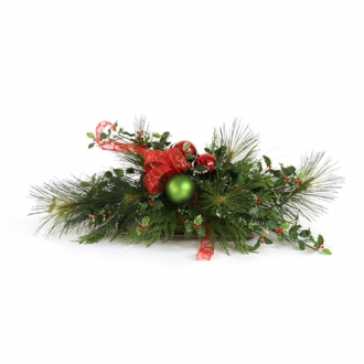 Artificial Red and Green Holiday Centerpiece with Red Bow On a Low Tray