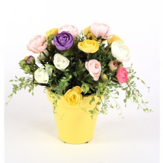 Assorted Silk Ranunculus Nosegay in an Amarillo Yellow Pot